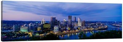 Buildings lit up at night, Monongahela River, Pittsburgh, Pennsylvania, USA Canvas Art Print