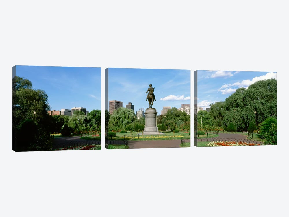 George Washington Equestrian Statue, Boston Public Garden, Boston, Massachusetts, USA by Panoramic Images 3-piece Canvas Art Print