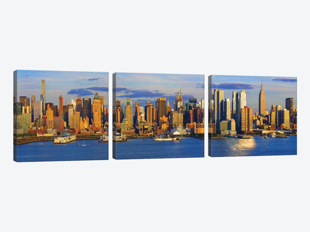 View Of Manhattan Skyline, New York City, New York State, USA II by Panoramic Images 3-piece Canvas Artwork