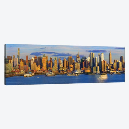 View Of Manhattan Skyline, New York City, New York State, USA II 3-Piece Canvas #PIM15000} by Panoramic Images Canvas Artwork