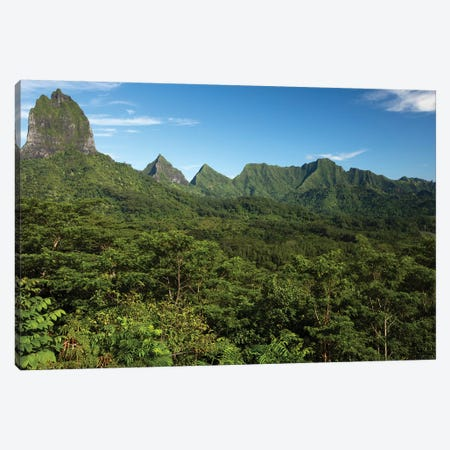 View Of Mountain Peaks, Moorea, Tahiti, French Polynesia I Canvas Print #PIM15001} by Panoramic Images Canvas Wall Art
