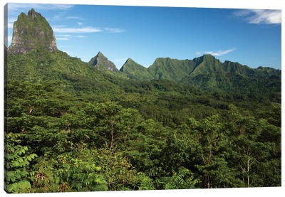 View Of Mountain Peaks, Moorea, Tahiti, French Polynesia I Canvas Art Print