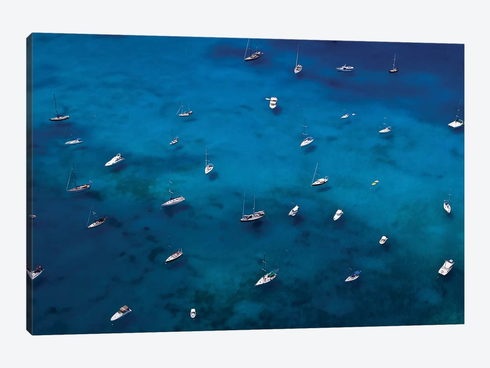 View Of Sailboats In Sea, Saint Barthélemy, Caribbean Sea by Panoramic Images 1-piece Canvas Artwork
