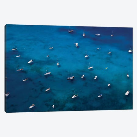 View Of Sailboats In Sea, Saint Barthélemy, Caribbean Sea Canvas Print #PIM15008} by Panoramic Images Canvas Wall Art