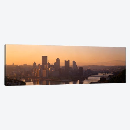 USA, Pennsylvania, Pittsburgh, Allegheny & Monongahela Rivers, View of the confluence of rivers at twilight Canvas Print #PIM1500} by Panoramic Images Canvas Art