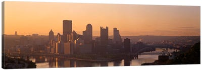 USA, Pennsylvania, Pittsburgh, Allegheny & Monongahela Rivers, View of the confluence of rivers at twilight Canvas Print #PIM1500