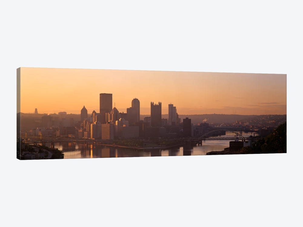 USA, Pennsylvania, Pittsburgh, Allegheny & Monongahela Rivers, View of the confluence of rivers at twilight by Panoramic Images 1-piece Canvas Wall Art