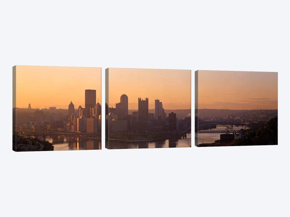 USA, Pennsylvania, Pittsburgh, Allegheny & Monongahela Rivers, View of the confluence of rivers at twilight by Panoramic Images 3-piece Canvas Artwork