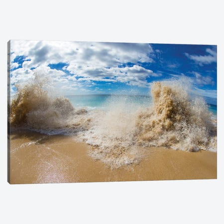 View Of Surf On The Beach, Hawaii, USA II Canvas Print #PIM15011} by Panoramic Images Canvas Art Print