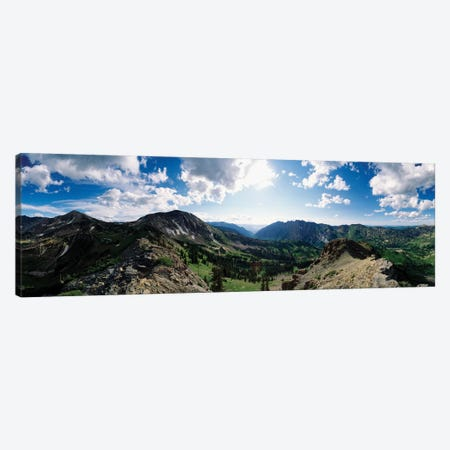 View Of Valley With Mountains, Alta, Salt Lake County, Utah, USA 3-Piece Canvas #PIM15012} by Panoramic Images Art Print