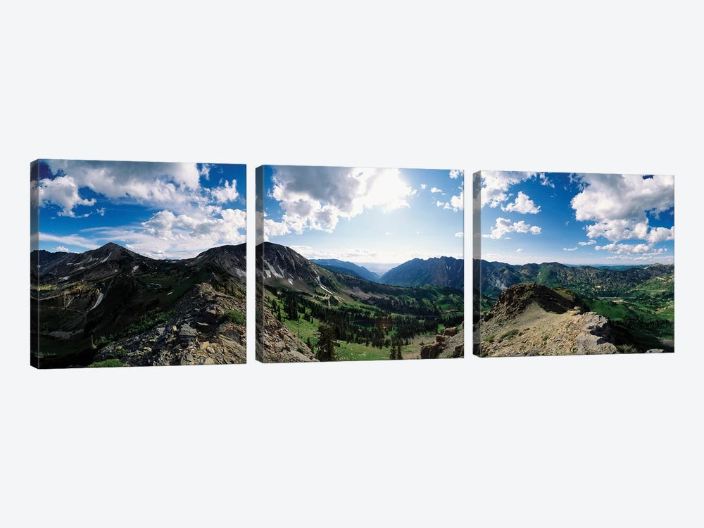 View Of Valley With Mountains, Alta, Salt Lake County, Utah, USA by Panoramic Images 3-piece Canvas Print