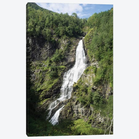 Water Falling From Rocks, Stalheim, Norway Canvas Print #PIM15017} by Panoramic Images Canvas Artwork