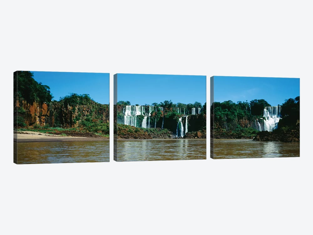Waterfall In A Forest, Iguacu Falls, Iguacu National Park, Argentina I 3-piece Canvas Print