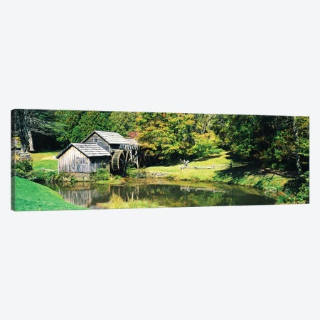 Watermill Near A Pond, Mabry Mill, Blue Ridge Parkway, Floyd County, Virginia, USA I Canvas Print #PIM15028} by Panoramic Images Canvas Artwork