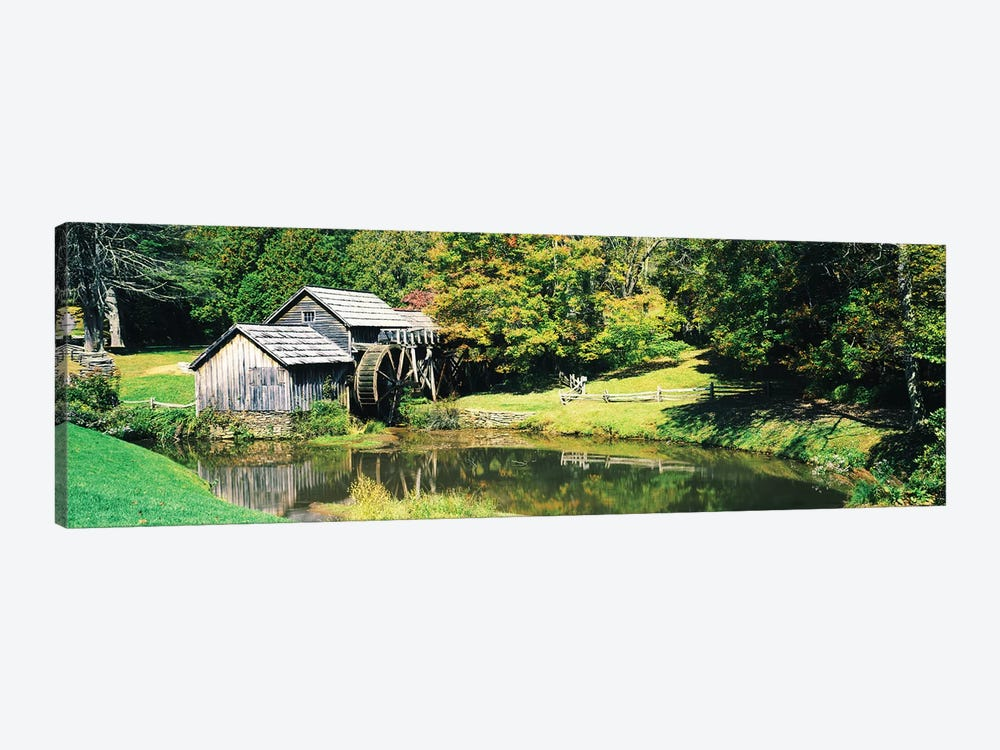 Watermill Near A Pond, Mabry Mill, Blue Ridge Parkway, Floyd County, Virginia, USA I by Panoramic Images 1-piece Canvas Wall Art
