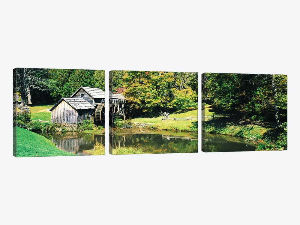 Watermill Near A Pond, Mabry Mill, Blue Ridge Parkway, Floyd County, Virginia, USA I by Panoramic Images 3-piece Canvas Art