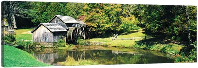 Watermill Near A Pond, Mabry Mill, Blue Ridge Parkway, Floyd County, Virginia, USA I Canvas Art Print