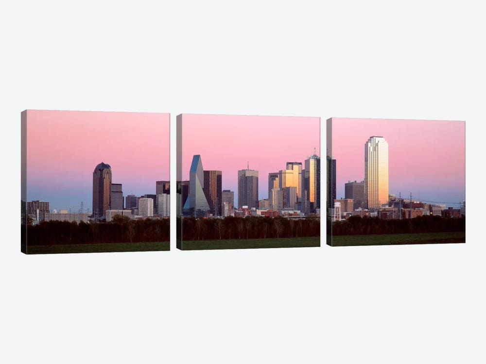 Twilight, Dallas, Texas, USA by Panoramic Images 3-piece Canvas Artwork