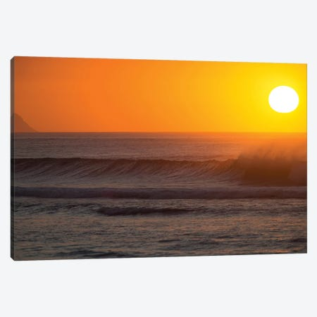 Waves In Pacific Ocean At Sunset, Hawaii, USA Canvas Print #PIM15032} by Panoramic Images Canvas Art Print