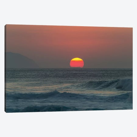 Waves In The Ocean At Sunset Canvas Print #PIM15034} by Panoramic Images Canvas Artwork