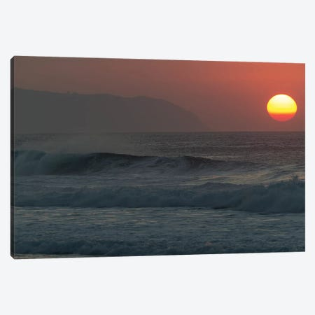 Waves Splashing On Beach At Sunset, Hawaii, USA Canvas Print #PIM15058} by Panoramic Images Art Print