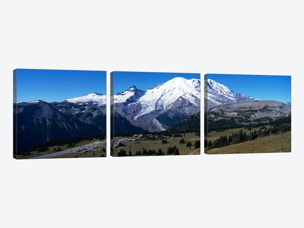 Snowcapped mountain, Mt Rainier, Mt Rainier National Park, Pierce County, Washington State, USA by Panoramic Images 3-piece Canvas Print