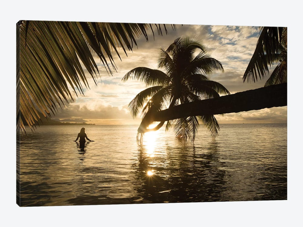 Woman Standing In The Pacific Ocean At Sunset, Moorea, Tahiti, French Polynesia I by Panoramic Images 1-piece Canvas Wall Art