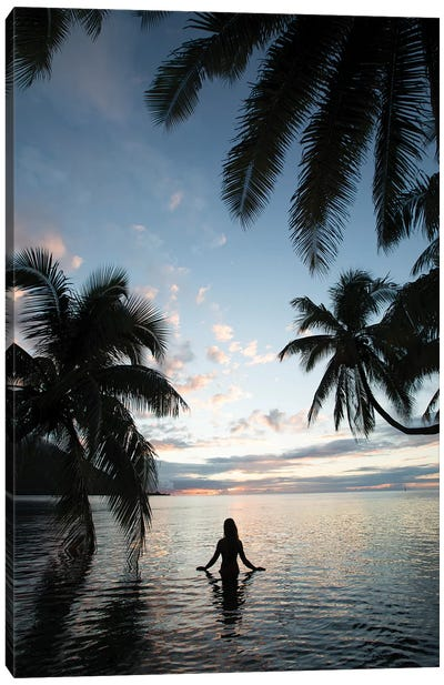 Woman Standing In The Pacific Ocean At Sunset, Moorea, Tahiti, French Polynesia II Canvas Art Print