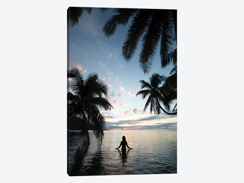 Woman Standing In The Pacific Ocean At Sunset, Moorea, Tahiti, French Polynesia II by Panoramic Images 1-piece Canvas Art Print