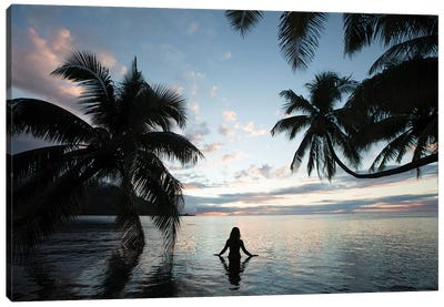 Woman Standing In The Pacific Ocean At Sunset, Moorea, Tahiti, French Polynesia III Canvas Art Print