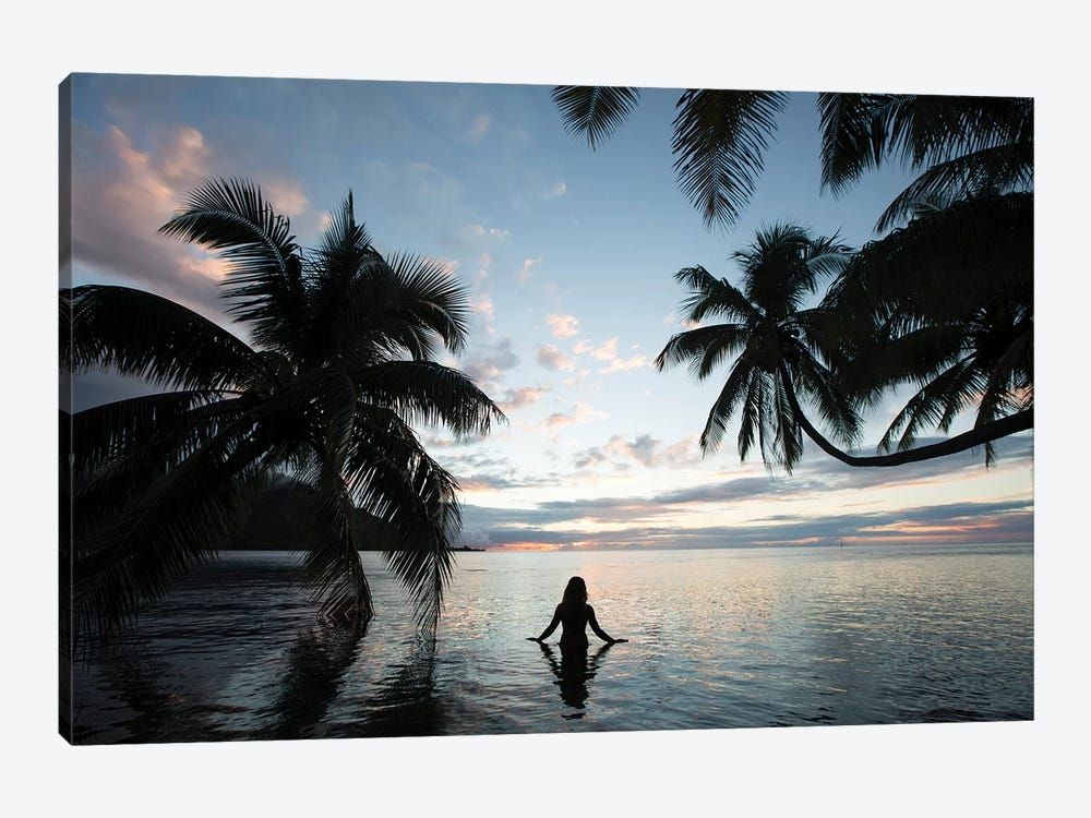 Woman Standing In The Pacific Ocean At Sunset, Moorea, Tahiti, French Polynesia III by Panoramic Images 1-piece Canvas Art Print