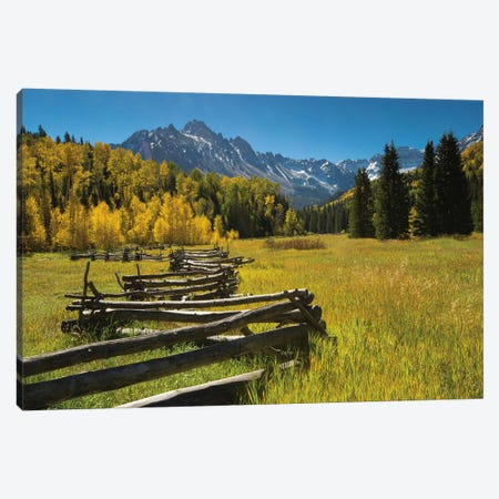 Wooden Fence In A Forest, Maroon Bells, Maroon Creek Valley, Aspen, Pitkin County, Colorado, USA Canvas Print #PIM15071} by Panoramic Images Canvas Art Print