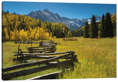 Wooden Fence In A Forest, Maroon Bells, Maroon Creek Valley, Aspen, Pitkin County, Colorado, USA Canvas Art Print