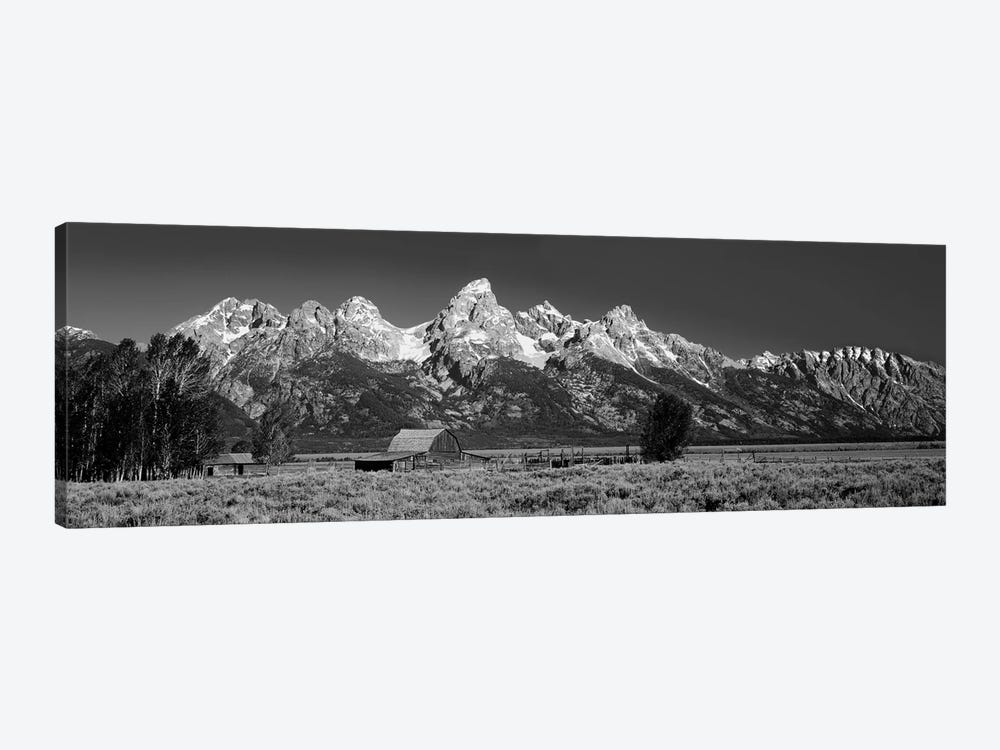 Barn On Plain Before Mountains, Grand Teton National Park, Wyoming, USA by Panoramic Images 1-piece Canvas Print