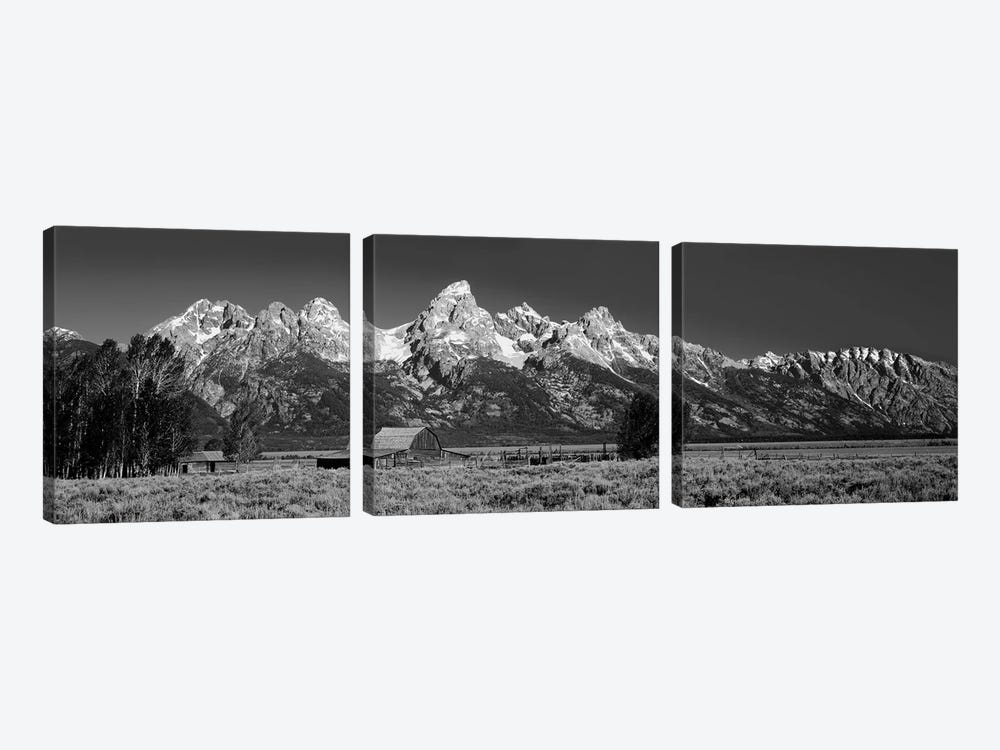 Barn On Plain Before Mountains, Grand Teton National Park, Wyoming, USA by Panoramic Images 3-piece Canvas Print