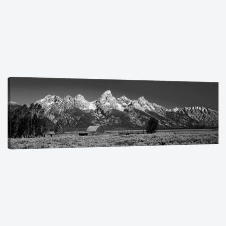 Barn On Plain Before Mountains, Grand Teton National Park, Wyoming, USA Canvas Print #PIM15081} by Panoramic Images Canvas Art