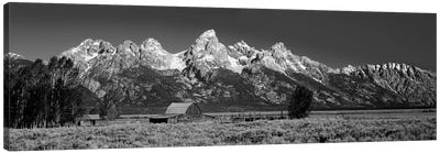 Barn On Plain Before Mountains, Grand Teton National Park, Wyoming, USA Canvas Art Print