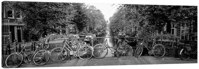 Bicycles On Bridge Over Canal, Amsterdam, Netherlands Canvas Art Print
