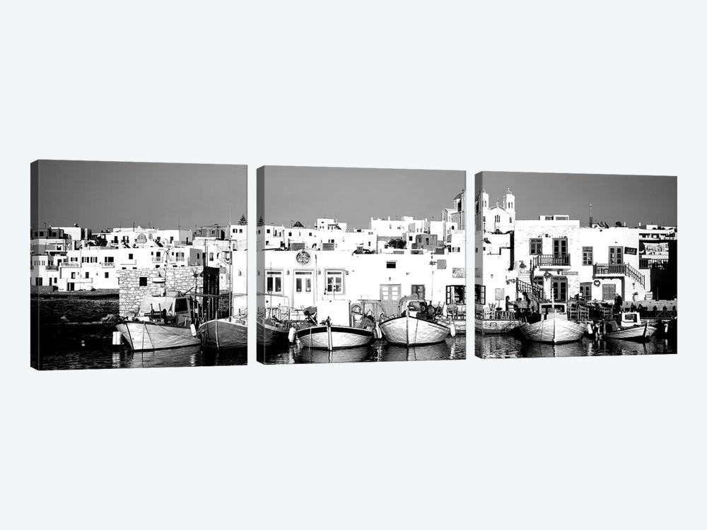 Boats At The Waterfront, Paros, Cyclades Islands, Greece by Panoramic Images 3-piece Art Print