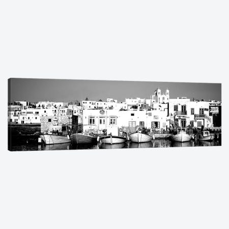 Boats At The Waterfront, Paros, Cyclades Islands, Greece 3-Piece Canvas #PIM15087} by Panoramic Images Canvas Print