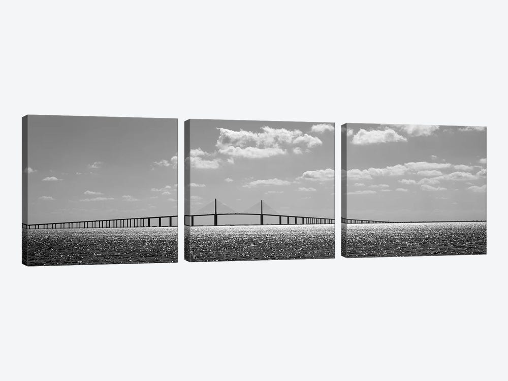Bridge Across A Bay, Sunshine Skyway Bridge, Tampa Bay, Florida, USA by Panoramic Images 3-piece Art Print