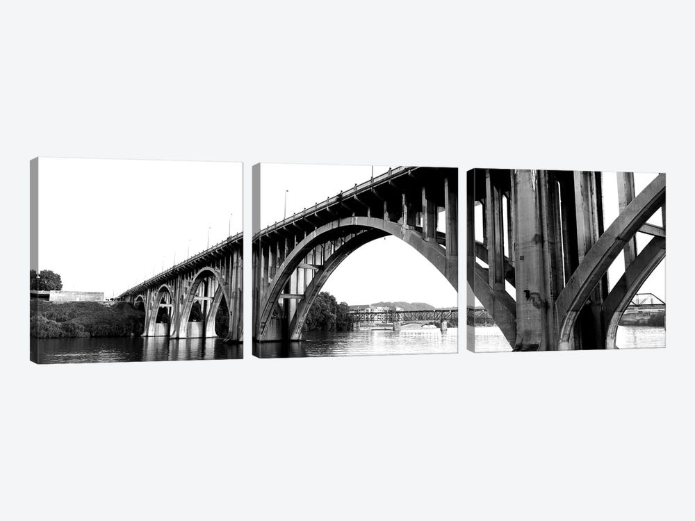Bridge Across River, Henley Street Bridge, Tennessee River, Knoxville, Knox County, Tennessee, USA by Panoramic Images 3-piece Canvas Art