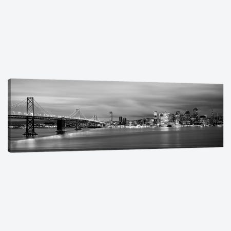 Bridge Lit Up At Dusk, Bay Bridge, San Francisco Bay, San Francisco, California, USA I Canvas Print #PIM15092} by Panoramic Images Art Print