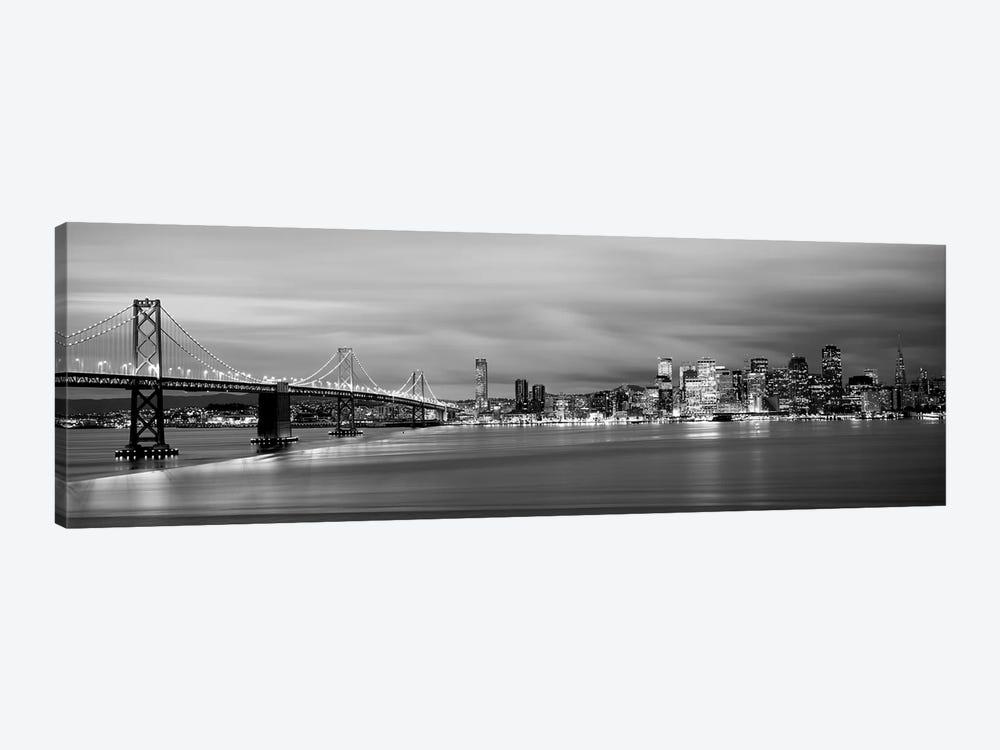 Bridge Lit Up At Dusk, Bay Bridge, San Francisco Bay, San Francisco, California, USA I by Panoramic Images 1-piece Canvas Art Print