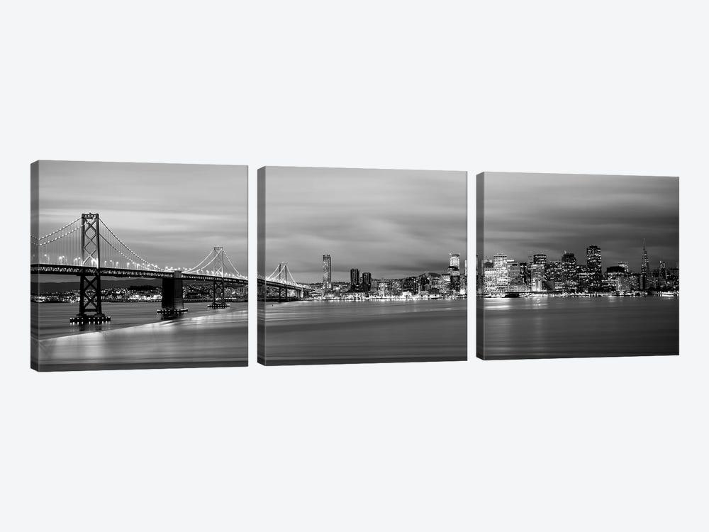 Bridge Lit Up At Dusk, Bay Bridge, San Francisco Bay, San Francisco, California, USA I by Panoramic Images 3-piece Canvas Print