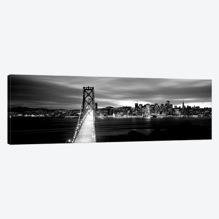 Bridge Lit Up At Dusk, Bay Bridge, San Francisco Bay, San Francisco, California, USA II 3-Piece Canvas #PIM15093} by Panoramic Images Canvas Art Print
