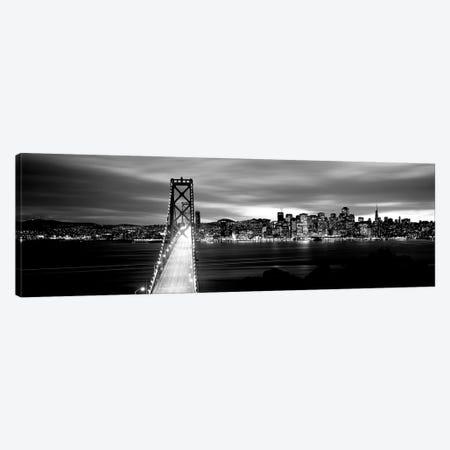 Bridge Lit Up At Dusk, Bay Bridge, San Francisco Bay, San Francisco, California, USA II Canvas Print #PIM15093} by Panoramic Images Canvas Art Print