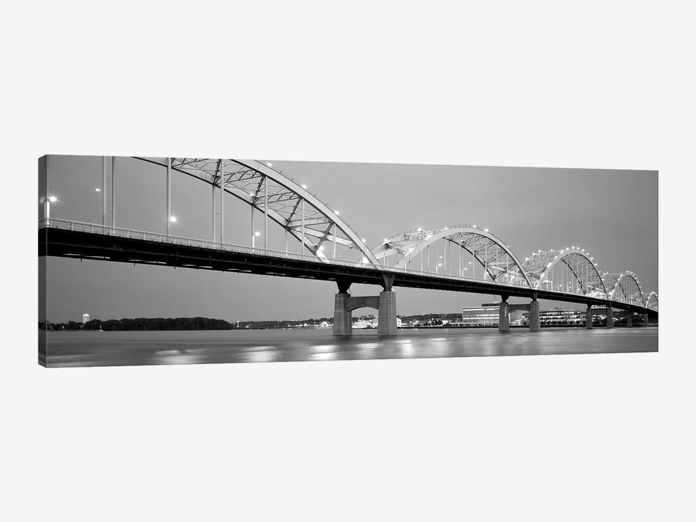 Bridge Over A River, Centennial Bridge, Davenport, Iowa, USA 1-piece Canvas Print