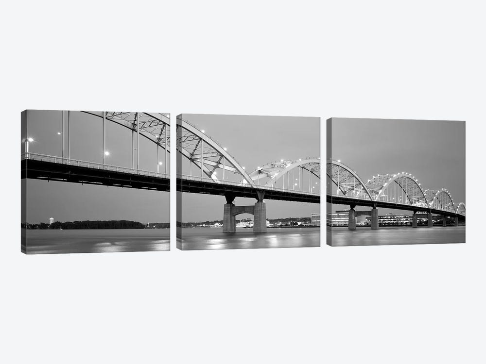 Bridge Over A River, Centennial Bridge, Davenport, Iowa, USA 3-piece Canvas Print