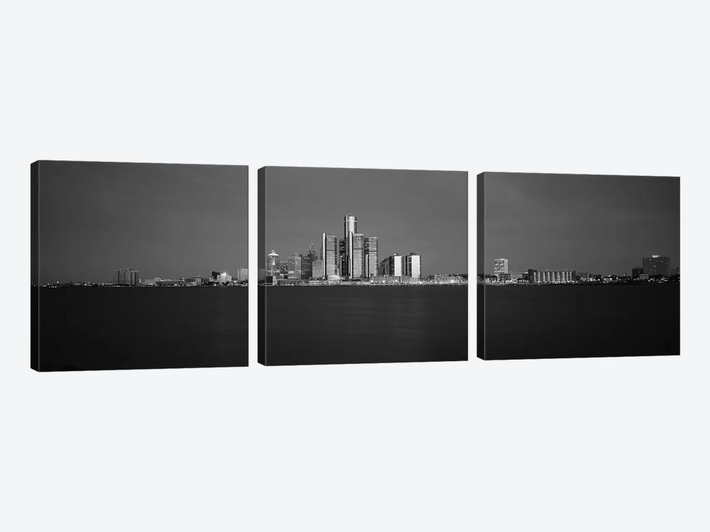 Buildings At Waterfront, Detroit, Michigan, USA by Panoramic Images 3-piece Art Print